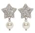 Silver Pearl Star Earrings by MIU MIU