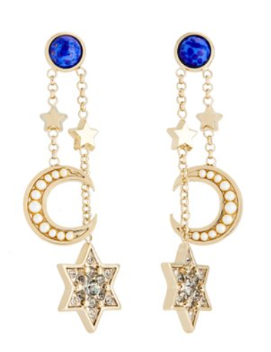 Crystal Embellishest Moon & Star Earrings by Etro.